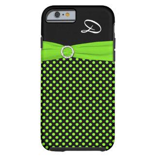 Monogram Lime Black White Polka Dot iPhone 6 case