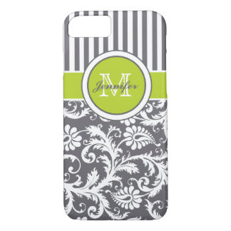 Monogram Lime Gray White Striped Damask iPhone 8/7 Case