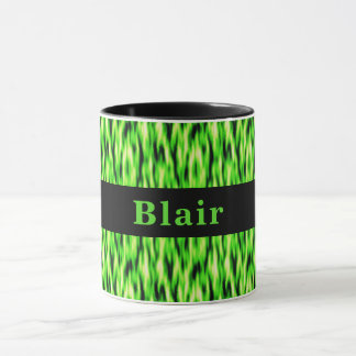 Monogram Lime Green Abstract Pattern Mug