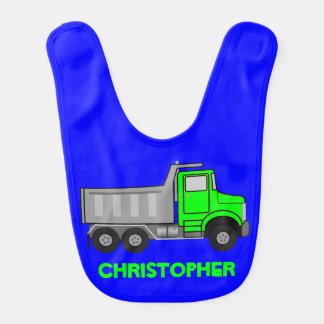 Monogram Lime Green and Gray Dump Truck on Blue Baby Bibs
