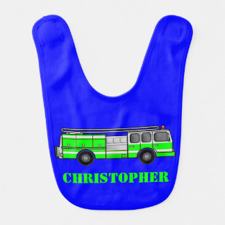 Monogram Lime Green and Gray Fire Truck on Blue Baby Bib