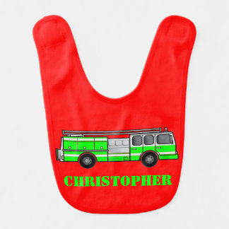 Monogram Lime Green and Gray Fire Truck on Red Bibs