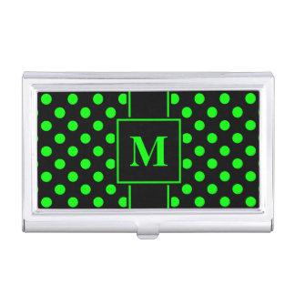 Monogram Lime Green Polka Dot on Black Business Card Holder