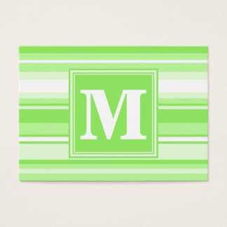 Monogram lime green stripes business card
