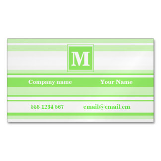 Monogram lime green stripes business card magnet