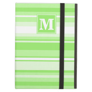 Monogram lime green stripes cover for iPad air