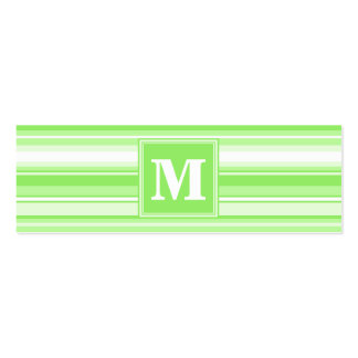 Monogram lime green stripes mini business card