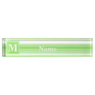 Monogram lime green stripes nameplates