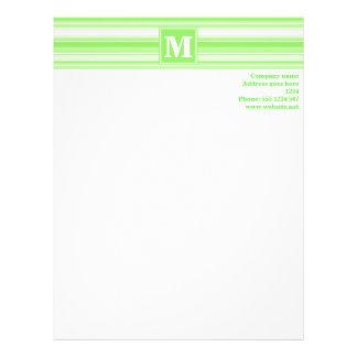 Monogram lime green stripes personalized letterhead