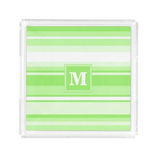 Monogram lime green stripes serving tray