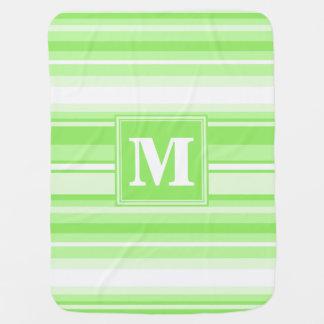 Monogram lime green stripes stroller blanket