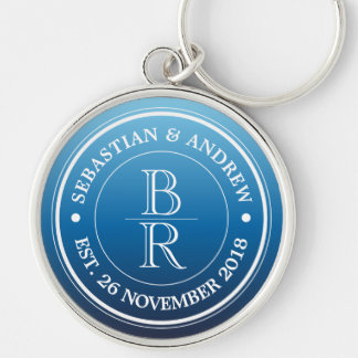 Monogram Logo Blue Ombre Gay Wedding Anniversary Silver-Colored Round Keychain