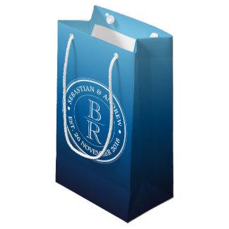 Monogram Logo Blue Ombre Gay Wedding Anniversary Small Gift Bag