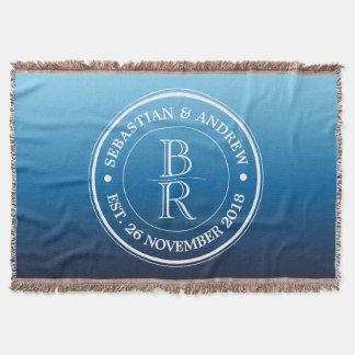 Monogram Logo Blue Ombre Gay Wedding Anniversary Throw