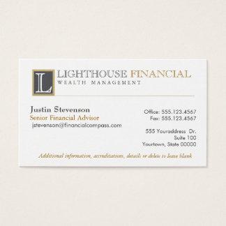 Monogram Logo Financial Advisor Professional Business Card