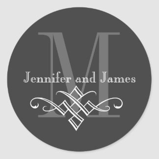 Monogram Logo Names Wedding Stickers Charcoal