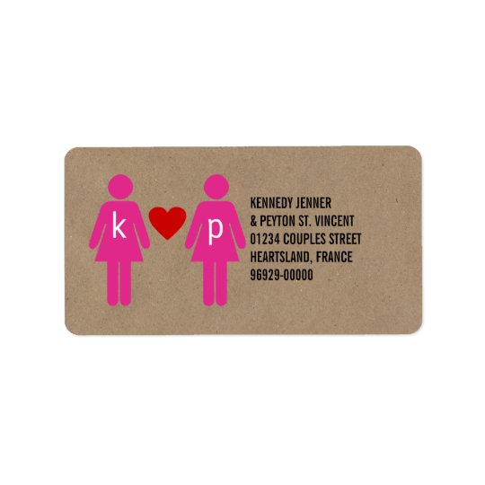 Monogram Love Couple Wedding Address Labels