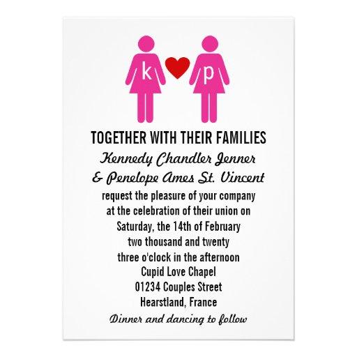 Monogram Love Couple Wedding Invitations