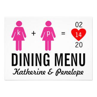 Monogram Love Couple Wedding Menu Cards