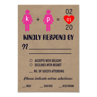 "Monogram Love Couple Wedding RSVP Cards 3.5"" X 5"" Invitation Card"