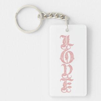 Monogram LOVE Double-Sided Rectangular Acrylic Keychain