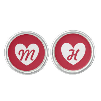Monogram love hearts white on red cuff links