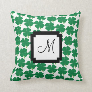 Monogram Lucky 4 Leaf Clover Throw Pillow