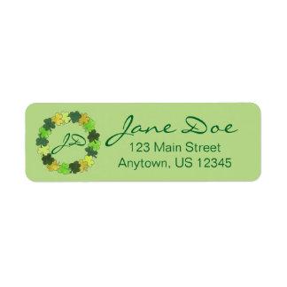 Monogram Lucky Green Shamrock Irish Clover Labels