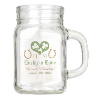 MONOGRAM LUCKY IN LOVE SHAMROCK HORSESHOE WEDDING MASON JAR
