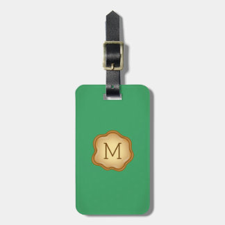 Monogram Luggage Tag - Bronze Ink, Calm Green