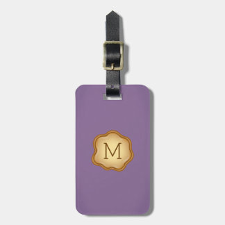 Monogram Luggage Tag - Bronze Ink, Magical Purple