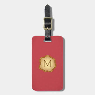 Monogram Luggage Tag - Bronze Ink, Vibrant Red