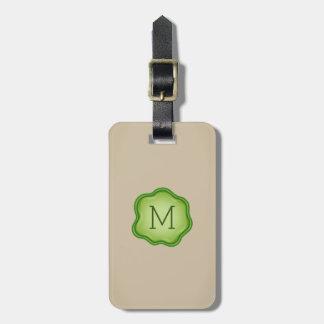 Monogram Luggage Tag - Green Ink, Natural Ivory
