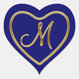 Monogram M in 3D gold Heart Sticker