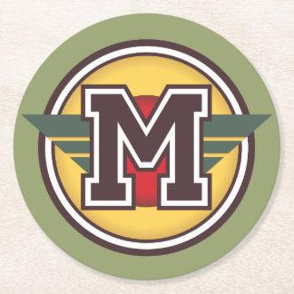 """Monogram """"M"""" Initial Round Paper Coaster"""