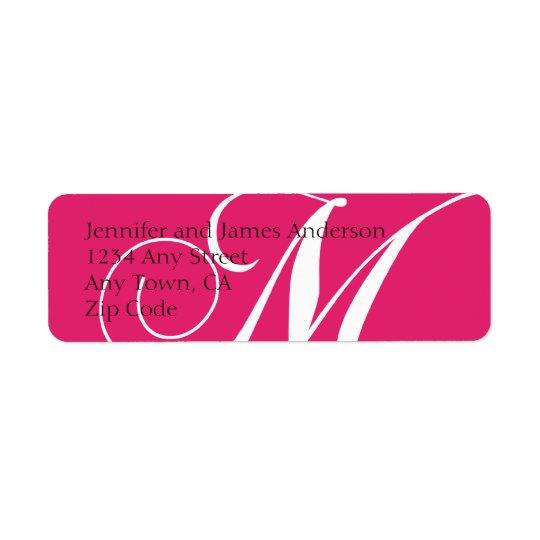 Monogram M Return Address Labels Pink