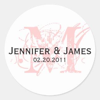 Monogram M Save the Date Wedding Sticker