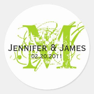 Monogram M Save the Date Wedding Sticker Green