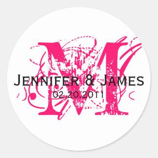 Monogram M Save the Date Wedding Sticker Hot Pink