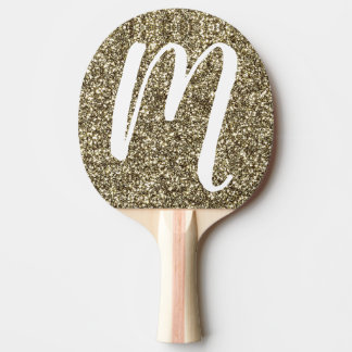 Monogram M Table Tennis Silver Gold Glitter Paddle