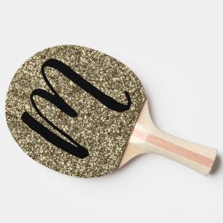 Monogram M Table Tennis Silver Gold Glitter Paddle