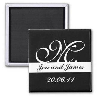 Monogram M Wedding Black & White Save the Date Square Magnet