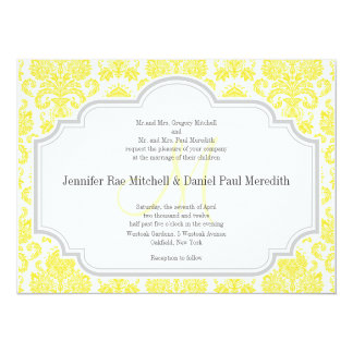 Monogram M Yellow  Damask Wedding Invitations