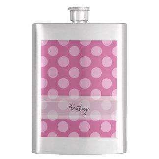 Monogram Magenta Pink Chic Polka Dot Pattern Flask