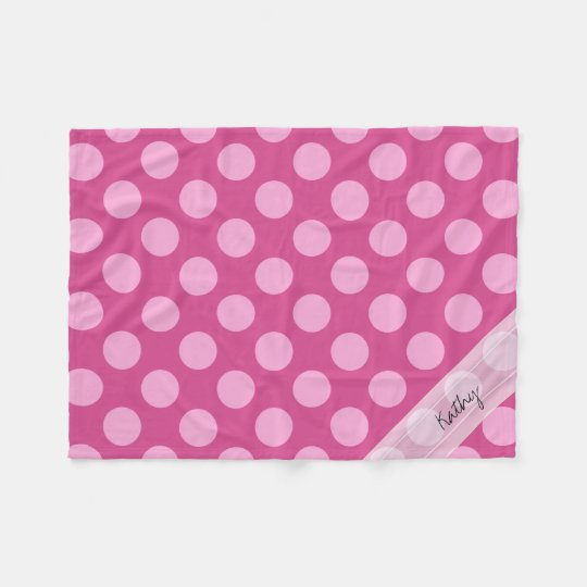 Monogram Magenta Pink Chic Polka Dot Pattern Fleece Blanket
