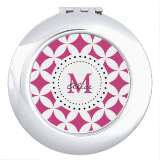Monogram | Magenta White Abstract Circles Mirror For Makeup