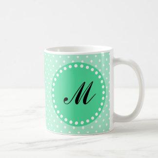 Monogram Magic Mint and White Polka Dot Basic White Mug