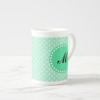 Monogram Magic Mint and White Polka Dot Tea Cup