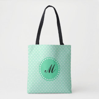 Monogram Magic Mint and White Polka Dot Tote Bag