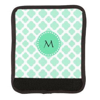 Monogram Magic Mint and White Quatrefoil Pattern Luggage Handle Wrap